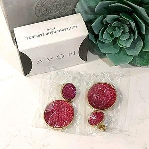 NIB AVON Pink Glitter Drop Earrings